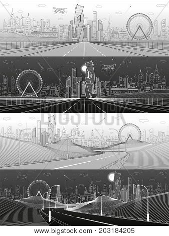 City infrastructure illustration set. Wide highway. Future town skyline on background. Modern architecture, skyscrapers, ferris wheel, plane fly. White and gray lines, urban scene. Vector design art