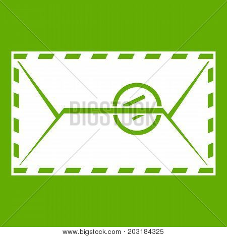 Mail envelope with a stamp icon white isolated on green background. Vector illustration