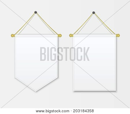 Pennant white blank hanging on the wall. Poster mockup