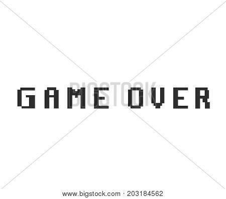 Game over glitch design. Game over pixel icon