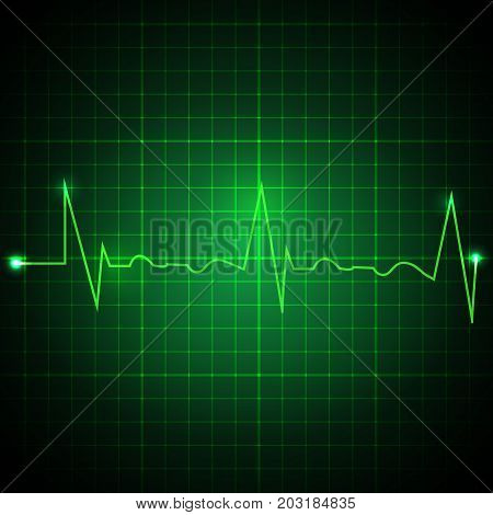 Heart pulse graphic. Ekg line on green background. Cardiogram background. Vector illustration
