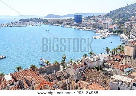 SPLIT, CROATIA - 12 JULY, 2017: Roofs of houses in Split Croatia