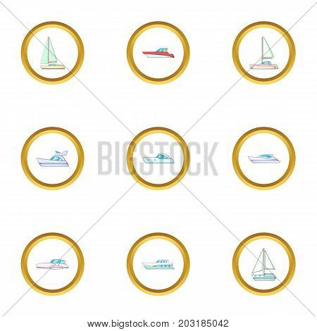 Vessel icons set. Cartoon set of 9 vessel vector icons for web isolated on white background