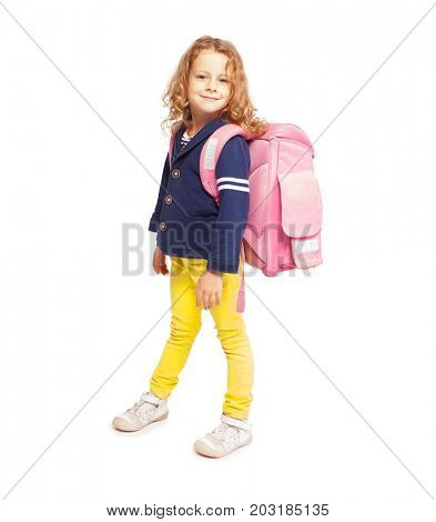 Little kid with schoolbag. Happy child on white