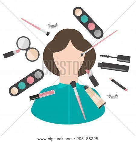 Flat makeup and cosmetics products and tools. Lipstic, brushes, eyeshadow mascara, powder and mascara