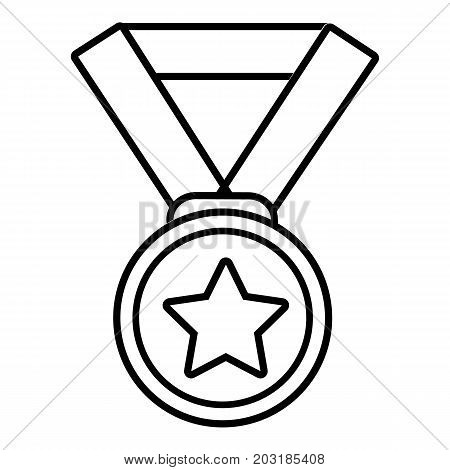 Hockey champion medal icon. Outline illustration of hockey champion medal vector icon for web design isolated on white background