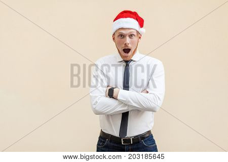 Wow! Portrait Of Young Adult Businessman With Shocked Facial Expression.