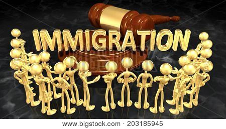 Immigration Law Concept With The Original 3D Characters Illustration