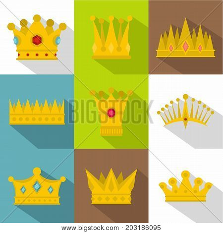 Medieval crown icon set. Flat style set of 9 medieval crown vector icons for web design