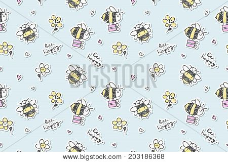 bee happy vector seamless pattern of bees gift boxes and flowers