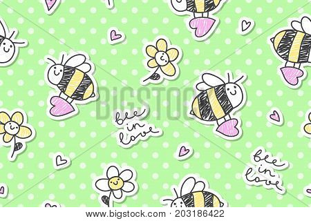 bee in love vector seamless pattern of bees hearts and flowers