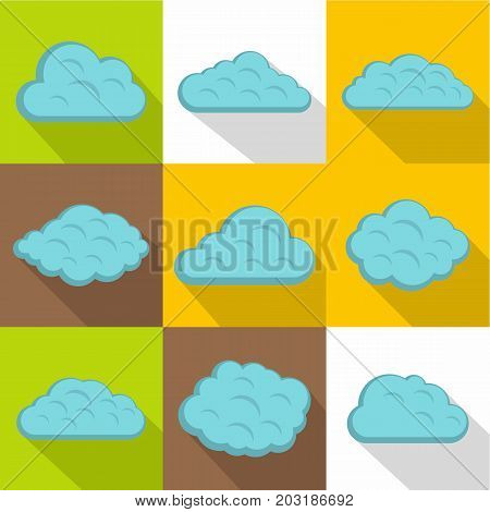 Nature cloud icon set. Flat style set of 9 nature cloud vector icons for web design