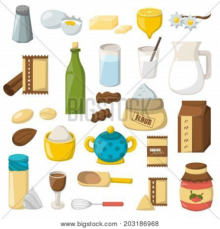 Vector Cartoon Baking Ingredients