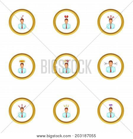 Businessman with stress emotions icons set. Cartoon set of 9 businessman with stress emotions vector icons for web isolated on white background