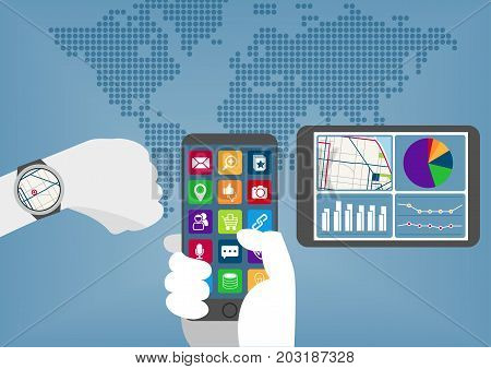 Mobile computing everywhere concept with hand holding smart phone, smart watch and tablet.