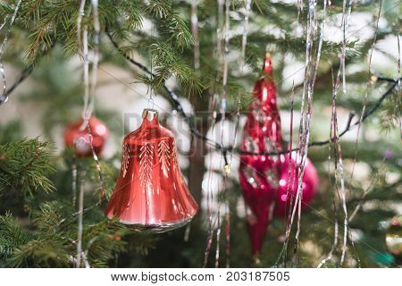 Christmas tree with old traditional ornaments