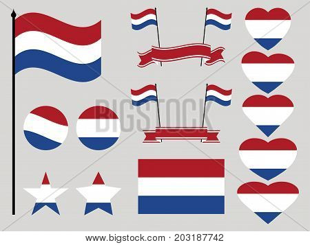 Netherlands Flag Set. Collection Of Symbols Heart And Circle. Vector Illustration