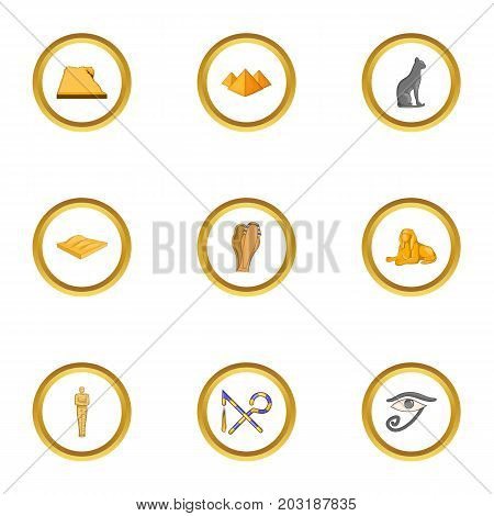 Africa travel icons set. Cartoon set of 9 Africa travel vector icons for web isolated on white background