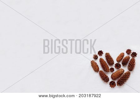 Heart of pine cones and fir cones on white fabric background. Place for your text.