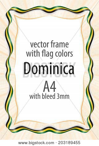 Frame and border of ribbon with the colors of the Dominica flag