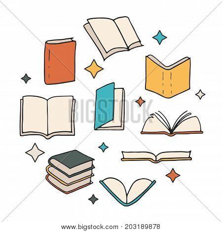 Hand Drawn Books Concept.