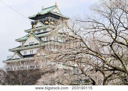 Osaka Jo Castle in Osaka city Japan.