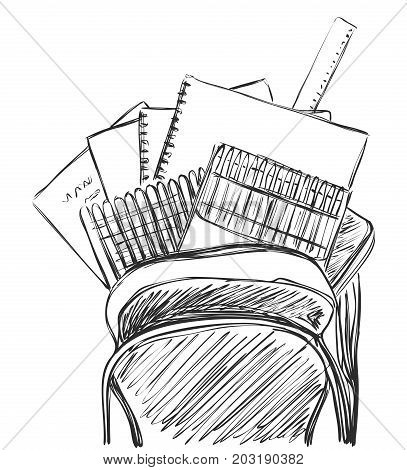 Welcome back to school vector collection. Books, notebook, copybook, backpack sketch.