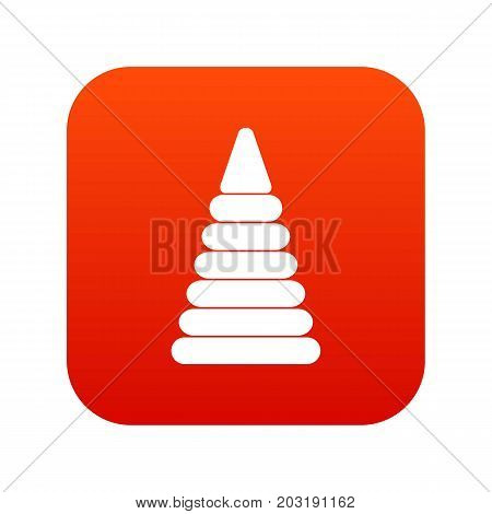 Pyramid built from plastic rings icon digital red for any design isolated on white vector illustration