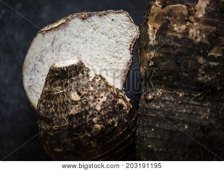 Closeup of fresh organic raw taro