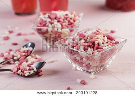 Sweet puffed rice on a table
