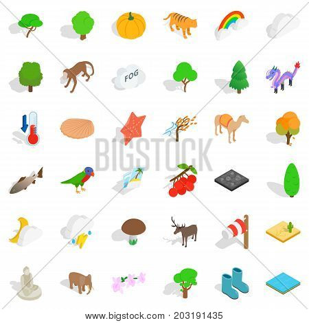 Zoo icons set. Isometric style of 36 zoo vector icons for web isolated on white background