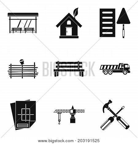 Street seat icons set. Simple set of 9 street seat vector icons for web isolated on white background