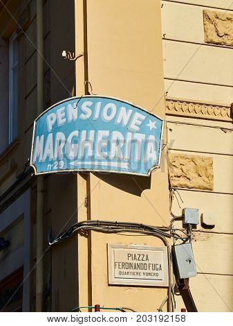 Guest House Signboard In A Street Of Naples, Campania, Italy.
