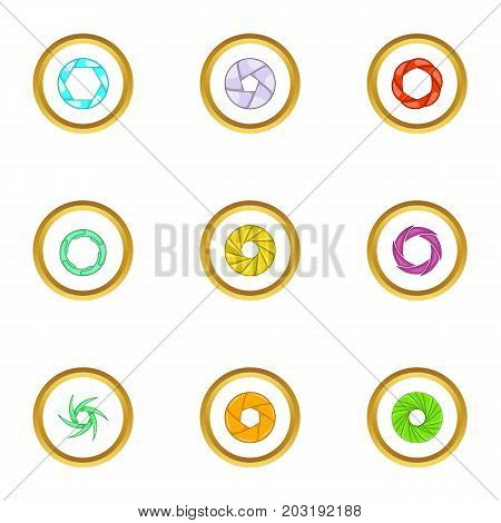 Camera shutter icons set. Cartoon set of 9 camera shutter vector icons for web isolated on white background