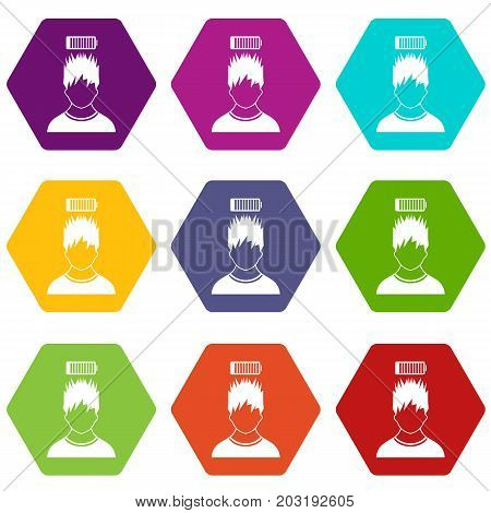 Man with low battery over head icon set many color hexahedron isolated on white vector illustration
