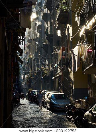 Street Of Quartieri Spagnoli Neighborhood Of Naples, Campania, Italy.