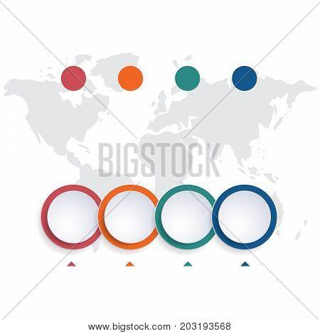 Template infographic color bubbles chart 4 positions