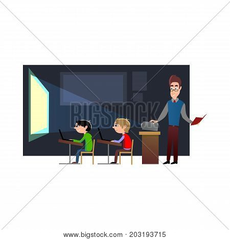 Lesson in classroom at school or college, teacher explains lesson near desk in front of students, Children sit on chairs at their desks and table to listen teacher, education concept vector illustration, campus life.
