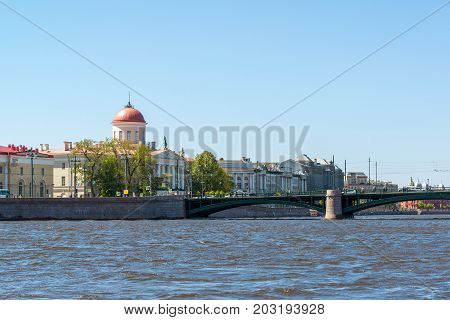 Museum of the Institute of Russian Literature and bridge Birzevoy in St. Petersburg, Russia