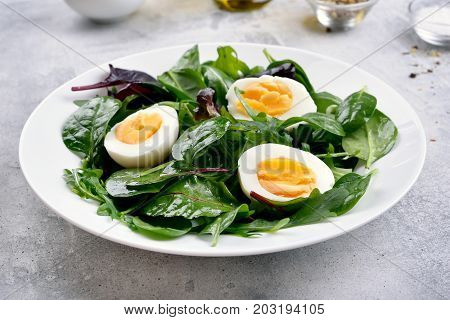 Green salad with leaves and eggs healthy natural food