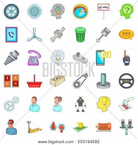 Operator support icons set. Cartoon style of 36 operator support vector icons for web isolated on white background
