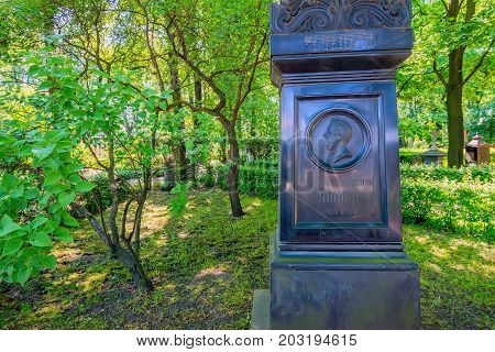 SAINT PETERSBURG, RUSSIA - JUNE, 2015: NECROPOLIS OF ALEXANDER NEVSKY LAVRA. MONUMENT TO RUSSIAN COMPOSER MIKHAIL GLINKA