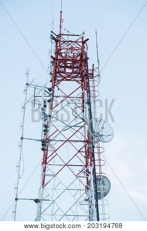 Telecommunications tower Antenna. radio transmission tower antenna.