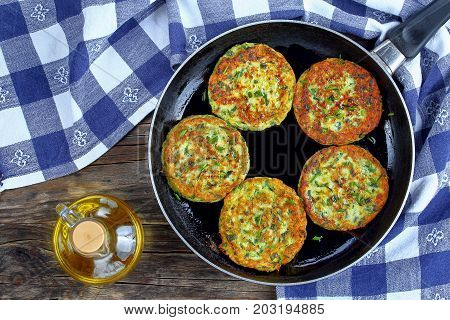 Zucchini Fritters Sprinkled With Chopped Chives