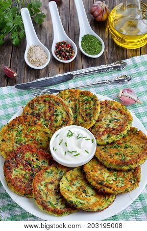 Crispy Zucchini Fritters, View From Above