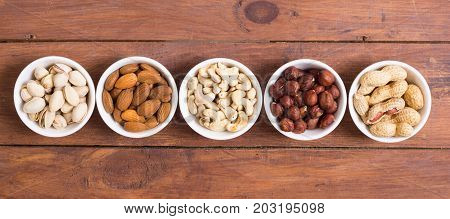 Mix of nuts : Pistachios almonds walnuts peanuts hazelnuts cashew