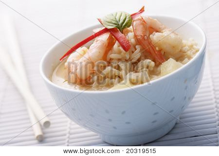 shrimps in a red curry and pineapple sauce with ric poster