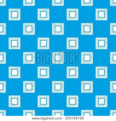 Microchip pattern repeat seamless in blue color for any design. Vector geometric illustration