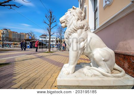KISLOVODSK, RUSSIA - CIRCA MAY, 2017 STONE LION DECORATIVE OUTDOORS ELEMENT