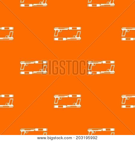 Gun pattern repeat seamless in orange color for any design. Vector geometric illustration